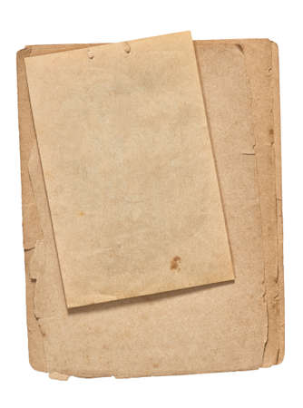 Photo pour Old paper sheets. Used book pages with torn edges isolated on white background - image libre de droit