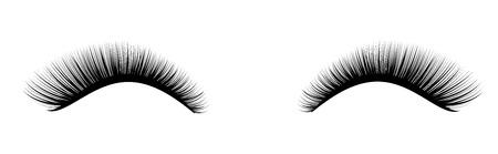 Ilustración de Eyelash extension. A beautiful make-up. Thick cilia. Mascara for volume and length. - Imagen libre de derechos