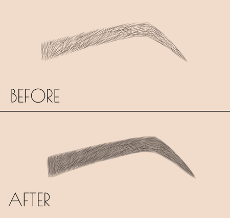 Illustrazione per Permanent makeup . Correction of the shape and coloring of the eyebrows. Salon procedure. microblading - Immagini Royalty Free