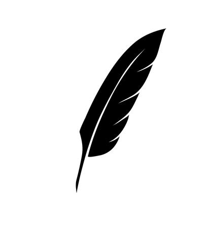 Illustration pour vintage pen feather writer symbol, literature icon, diary sign, black illustration, - image libre de droit