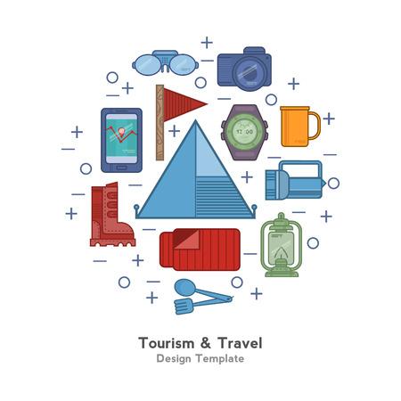Illustration pour Travel flat icons backpack, shoes, compass. - image libre de droit