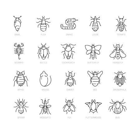 Illustration pour Pest control icon set in linear style. - image libre de droit