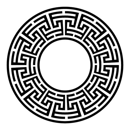 Illustration pour Decorative round frame. Abstract vector geometric ornament in black color on a white background. Abstract vector geometric ornament in white black color on a black background. Vector illustration - image libre de droit