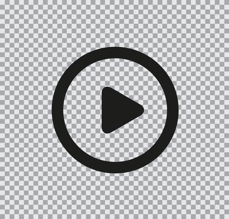 Illustration pour Vector flat icon of play black on a transparent background - image libre de droit