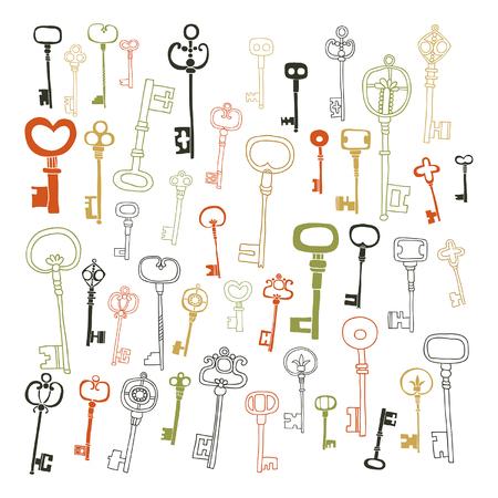 Decorative vintage keys, doodles, set of antique keys