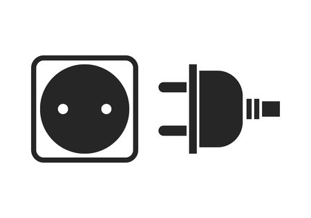 Socket and plug. Flat icon, black silhouette of the device of electricity.