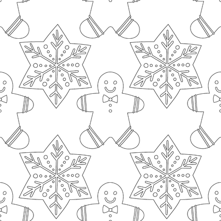 Illustration pour Gingerbread. Black and white illustration for coloring book or page. Christmas and holiday background. - image libre de droit