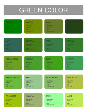 Ilustración de Green. Color codes and names. Selection of colors for design, interior and illustration. Poster - Imagen libre de derechos