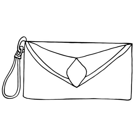 Ilustración de Hand drawn women bag, women purse stylish fashion vector illustration black on a white line. Design for print, poster, decoration. - Imagen libre de derechos
