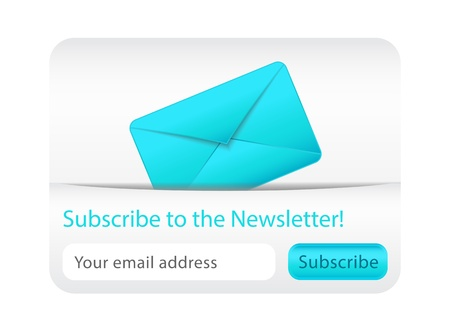 Light subscribe to newsletter website element with blue envelope