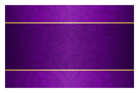 Illustration pour Purple card with vintage pattern and golden label - image libre de droit