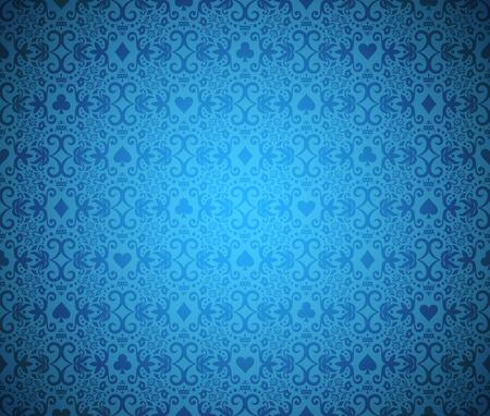 Ilustración de Blue seamless poker background with dark damask pattern and cards symbols - Imagen libre de derechos