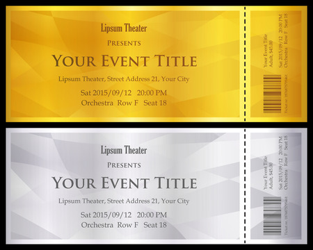 Illustration for Modern gold and silver ticket with abstract background - Royalty Free Image