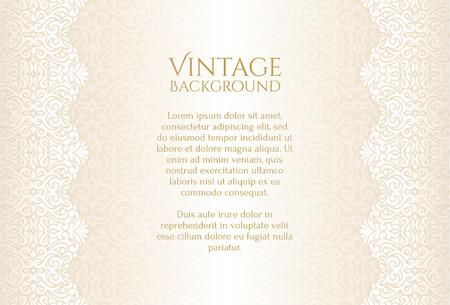 Photo pour Champagne luxury vintage background with floral ornament - image libre de droit