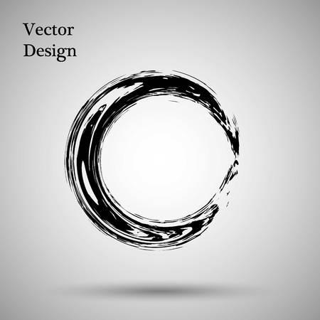 Hand drawn circle shape. label, logo design element. Brush abstract wave. Black enso zen symbol. Vector illustration. Objectの素材 [FY31061053864]