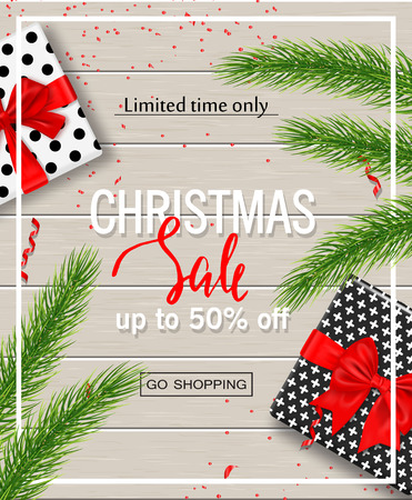 Christmas sale poster with gift boxes, serpentine and tree branches on wooden backgrounds. Vector illustration for website and banners, posters, ads, coupons, promotional material