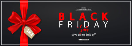 Photo for Black Friday Horizontal Banner with red bow. Vector Illustration. Modern design.Universal vector background for poster, banners, flyers, card - Royalty Free Image