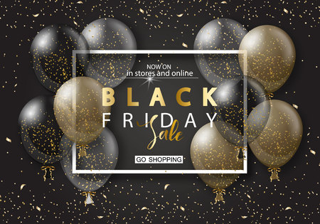 Ilustración de Black friday sale background with frame and transparent realistic balloons. Modern design.Universal vector background for poster, banners, flyers, card - Imagen libre de derechos