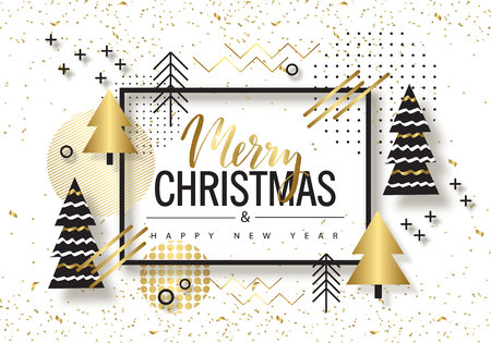 Illustration pour Merry Christmas and Happy New Year. Trendy background with Golden trees and geometric designs . Poster, card, label, banner design. Vector illustration. - image libre de droit