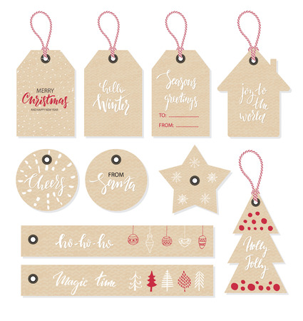 Illustration pour Christmas tags set, hand drawn style. Vector illustration - image libre de droit