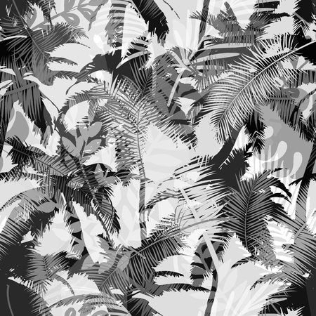 Illustration for Trendy seamless exotic pattern with palm and tropical plants. Modern abstract design for paper, wallpaper, cover, fabric and other users. Vector illustration. - Royalty Free Image