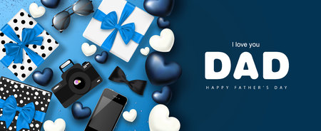 Illustration pour Happy Father's day banner design with gifts boxes,camera, phone, sunglasses,bow tie and hearts.Vector illustration. - image libre de droit