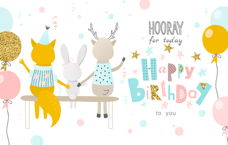 Illustration for Hooray for today Happy Birthday to you. Greeting card with funny Fox, hare ,deer and balloons.Banner, poster,invitational. Vector illustration. - Royalty Free Image
