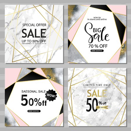 Modern geometric social media banners with golden lines, triangles, marble and watercolor texture background. Square template for design card, flyer, invitation, party, birthday, wedding, website.