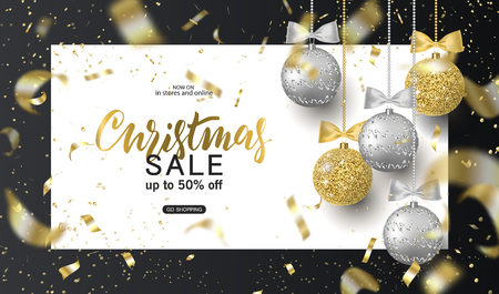 Illustration pour Christmas Sale.Trendy background for card, invitation, party flyer, poster, banner. Silver, gold, shiny tree balls and confetti Vector illustration - image libre de droit