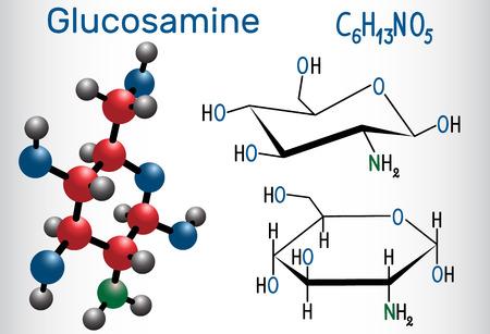 Ilustración de Glucosamine molecule, is one of the most abundant monosaccharides, is dietary supplement. Structural chemical formula and molecule model. Vector illustration - Imagen libre de derechos