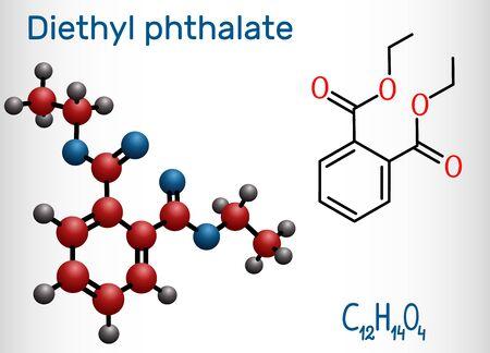 Illustration pour Diethyl phthalate, DEP plasticizer molecule, is a phthalate ester. Structural chemical formula and molecule model. Vector illustration - image libre de droit