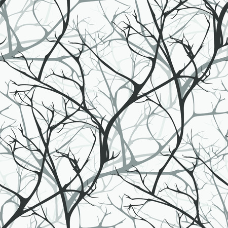 Illustration for Winter forest vector seamless pattern of branches texture wood backgrounds - Royalty Free Image