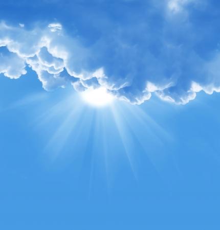 Photo pour blue sky with sun and beautiful clouds  - image libre de droit