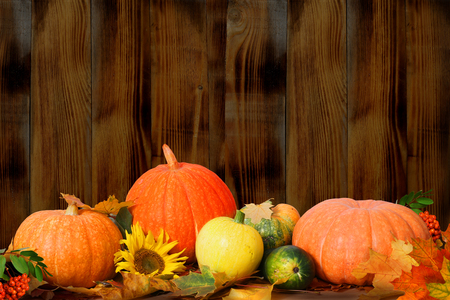 Autumn background with maple leaves and pumpkins on wooden table