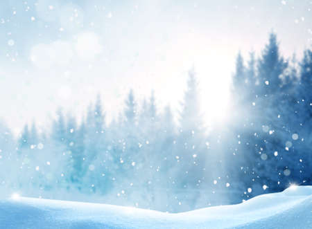 Beautiful winter landscape with snow covered trees.Merry Christmas and happy New Year greeting background with copy-space.
