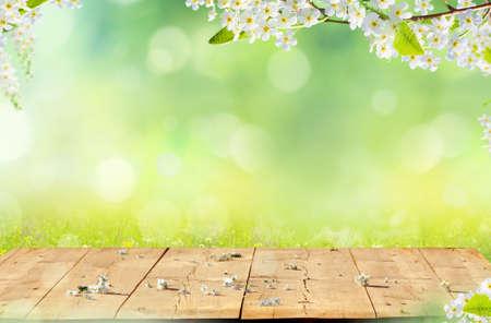 Foto de Spring background with wooden table. Spring blossom with copy space. - Imagen libre de derechos