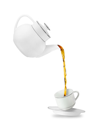 Foto für Pouring tea in tea cup. Teapot and cup isolated on white background - Lizenzfreies Bild