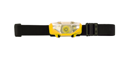 Headlamp or headlight with elastic strap isolated on white background. Sport equipment attaching to head or helmet