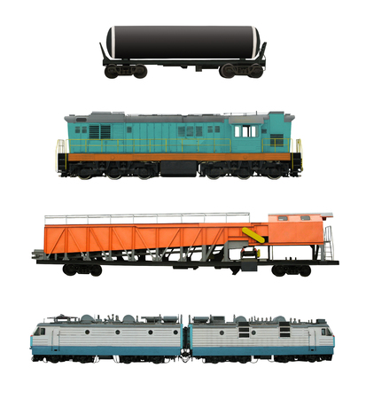 Photo pour Set of railroad transport with locomotives, cistern and snow removal cars, etc. Railway vehicles isolated on white background - image libre de droit