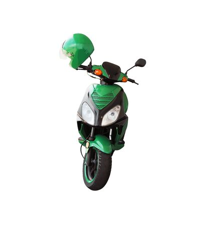 Photo pour Front view of green scooter and helmet isolated on white background. Urban transport - image libre de droit