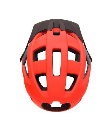 Photo pour Top view of red bike helmet with visor isolated on white background. Sport equipment for bike, roller skates, skateboard, etc. - image libre de droit