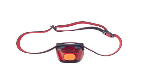 Red headlamp with strap isolated on white background