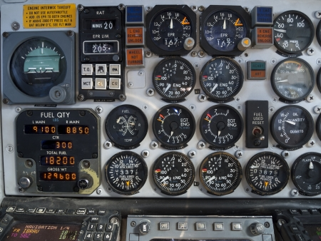 Aircraft cockpit  engine and fuel instruments in flight