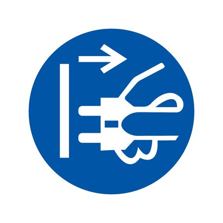 Disconnect Mains Plug From Electrical Outlet Symbol, Vector Illustration, Isolate White Background Icon.