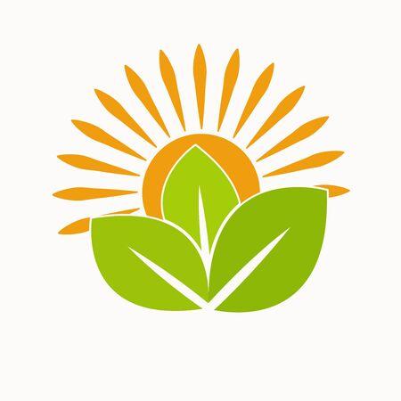 Illustration pour Nature Green Landscape Sunrise Logo Template. sun vector illustration Icon Logo Template - image libre de droit