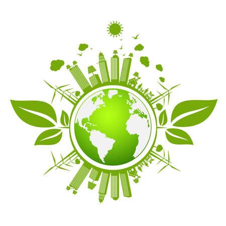 Illustration pour Banner design elements for sustainable energy development, Environmental and Ecology concept, Vector illustration - image libre de droit