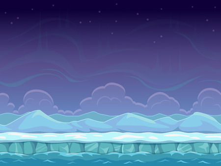 Seamless cartoon arctic landscape, unending background with ice, snow hills and cloudy sky layers