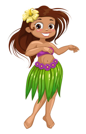 Cute cartoon dancing Hawaiian girl. Isolated vector illustration