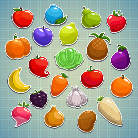 Set of fruits, berries, vegetables stickersのイラスト素材