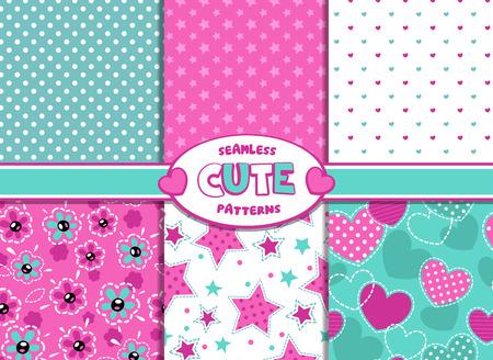 Ilustración de Set of cute girlish vector seamless pattern - Imagen libre de derechos